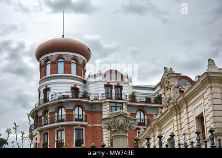 MADRID, SPAIN - APRIL 23, 2018: Beautiful architecture on the back of the Ministry of Agriculture, Fisheries, Food and Environment in Madrid. - Stock Photo
