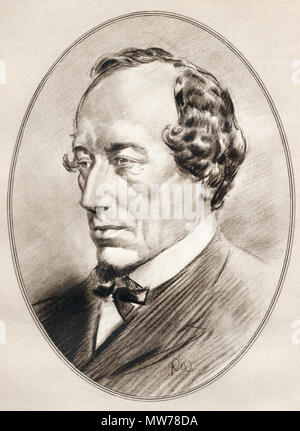 Benjamin Disraeli, 1st Earl of Beaconsfield, 1804 –  1881.  British statesman of the Conservative Party and two times Prime Minister of the United Kingdom.  Illustration by Gordon Ross, American artist and illustrator (1873-1946), from Living Biographies of Famous Men. - Stock Photo