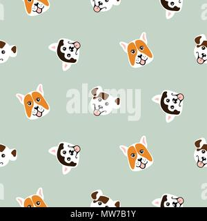 Funny dogs animal seamless vector pattern. - Stock Photo