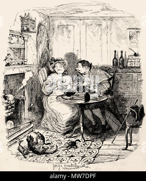 'Mr. Bumble and Mrs. Corney taking tea.' From 'Oliver Twist' by Boz (Charles Dickens).  Vol. 2. London: Richard Bentley, 1838. First edition - Stock Photo