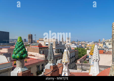 View over the city from the roof of the Gaudi designed Palau Guell, El Raval, Barcelona, Spain - Stock Photo