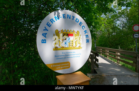 Sign Bavaria explorers on the shore of the Ammersee in Diessen, Bavaria, Germany. - Stock Photo