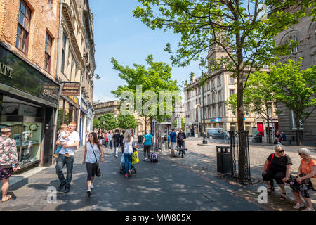 Busy High Street in central Dundee, Tayside,Scotland, Uk - Stock Photo