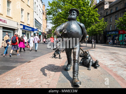 Statue of Desperate Dan on the High Street in central Dundee, Scotland, UK - Stock Photo