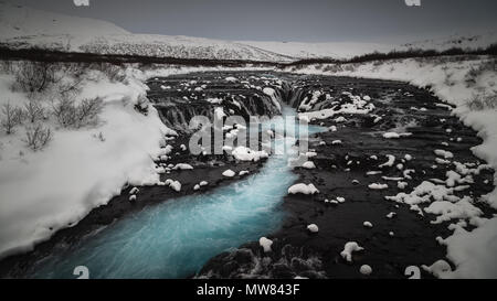 Bruarfoss waterfall in a cold winter day, Iceland - Stock Photo