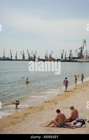 Beach in the center of Berdyansk - Stock Photo