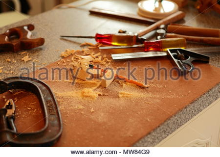 An 81 Year Old Carpenter Using Original Tools Working On A DIY Project At His Home In Dukinfield Tameside Cheshire England June 2018 - Stock Photo