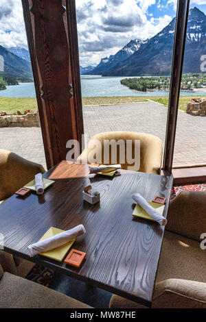 Dining area of the Prince of Wales Hotel in Waterton Lakes National Park, Alberta Canada