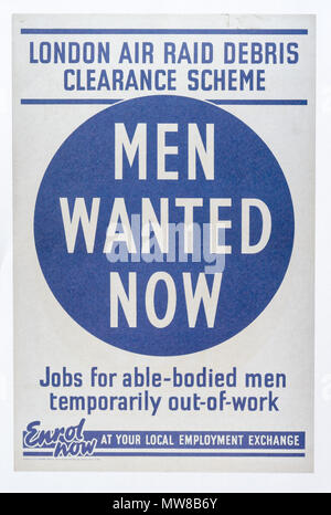 A second world war poster calling for volunteers for air raid debris clearance work - Men Wanted Now - Stock Photo