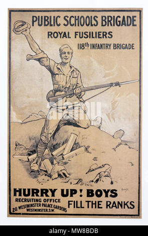 A British first world war poster calling for schoolboys to volunteer for the Public Schools Brigade of the Royal Fusiliers 118th Infantry brigade - Stock Photo