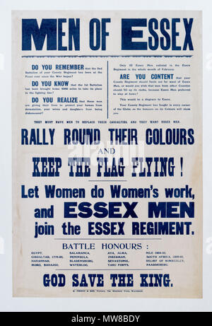 A British first world war poster calling for volunteers in Essex to join the Essex Regiment - Stock Photo