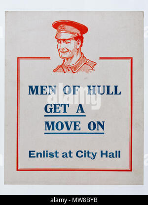 A British first world war poster calling for volunteers in Hull to join up - Stock Photo