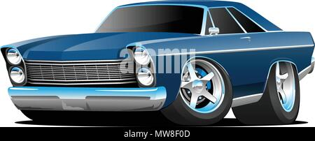 Classic Sixties Style Big American Muscle Car Cartoon Vector Illustration - Stock Photo