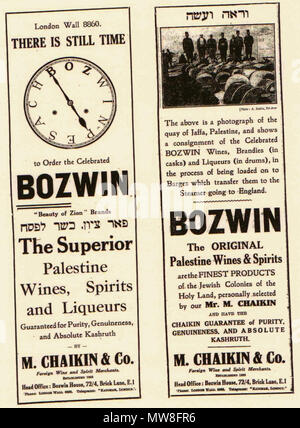 . English: Bozwin newspaper advert, Jewish Chronicle, 1930s . 3 November 2011. Scanned from the Jewish Chronicle, 1930s 95 Bozwin newspaper advert, 1930s - Stock Photo