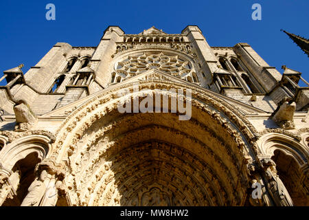 North entrance to Chartres Cathedral, France - Stock Photo