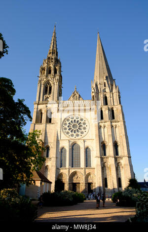 The two contrasting spires at the west facade of Chartres Cathedral France - Stock Photo