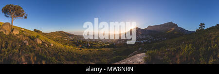 Panorama of Table Mountain in Cape Town at sunrise - Stock Photo