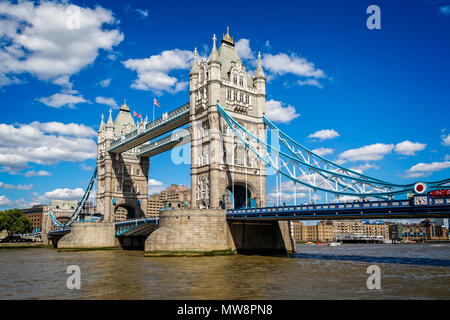 Tower Bridge from the South Bank taken in London, UK on 11 August 2013 - Stock Photo