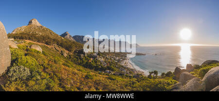 Panorama of the 12 Apostles and Lion's Head at sunset in Cape Town - Stock Photo
