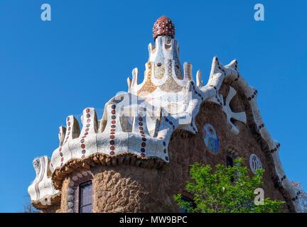 Casa del Guarda, Park Guell ( Parc Guell ), Gracia, Barcelona, Spain - Stock Photo