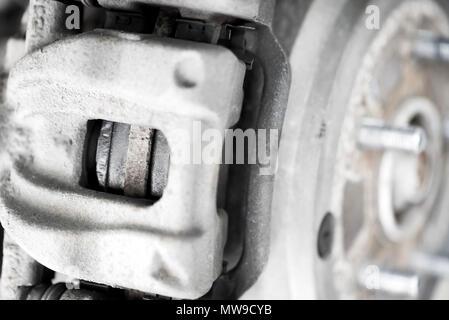 Car caliper and wheel hub close - Stock Photo