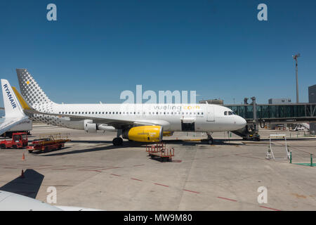 veuling airplane at Airport of Malaga, Costa del Sol, Spain. - Stock Photo
