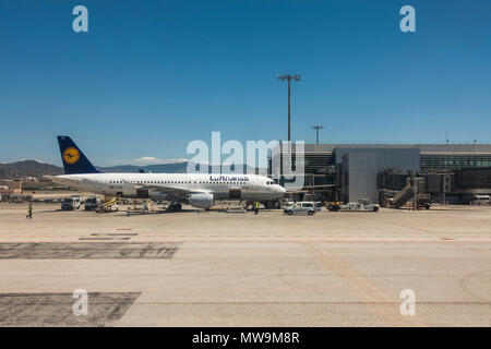 Lufthansa Aircraft at Airport of Malaga, Costa del Sol, Spain. - Stock Photo