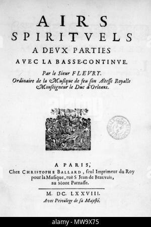 . Français: Title page of Fleury's Airs spirituels, 1678. 1678. Nicolas Fleury (c. 1630 - c. 1680) 210 Fleury - Airs 1678 - Stock Photo