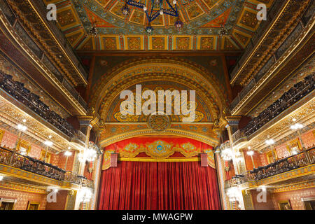 Interior of the JUAREZ THEATER - GUANAJUATO, MEXICO - Stock Photo