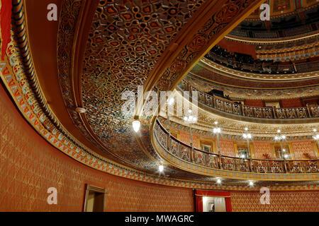 Interior of the JUAREZ THEATER - GUANAJUATO, MEXICO - Stock Photo