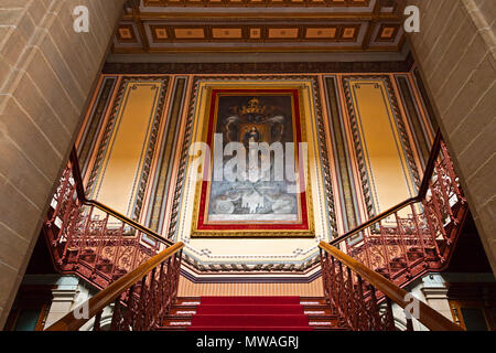 GRAND STAIRWAY inside the JUAREZ THEATER - GUANAJUATO, MEXICO - Stock Photo