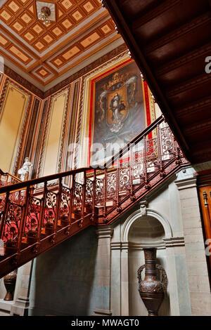 GRAND STAIRWAY inside the JUAREZ THEATER - GUANAJUATO, MEXICO - Stock Photo