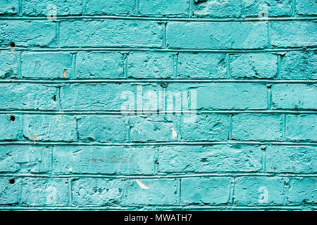 Painted turquoise vintage grunge brick wall texture urban background. Horizontal texture. For abstract background, pattern, wallpaper or banner design - Stock Photo