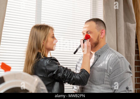 Make-up of man actor before shooting - Stock Photo