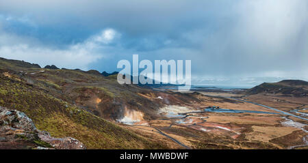Steaming Soil, Seltún Geothermal Area, Krýsuvík Volcano System, Reykjanesfólkvangur National Reserve, Reykjanes, Sudurnes - Stock Photo
