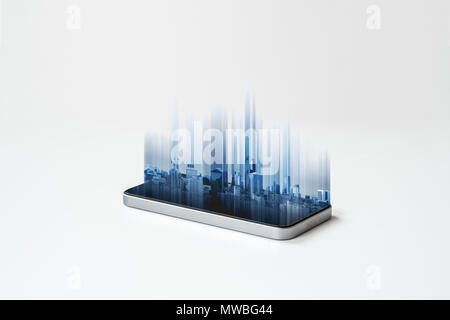 Mobile smart phone and buildings hologram technology, on white background. Mobile phone and communication technology - Stock Photo