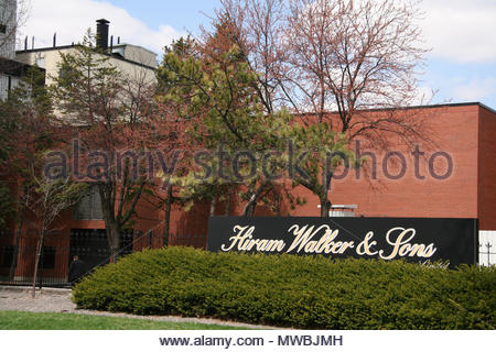 Hiram Walker and Sons distillery building in Windsor, Ontario, Canada. Hiram Walker was a prominent American distiller who is best known for his whisk - Stock Photo