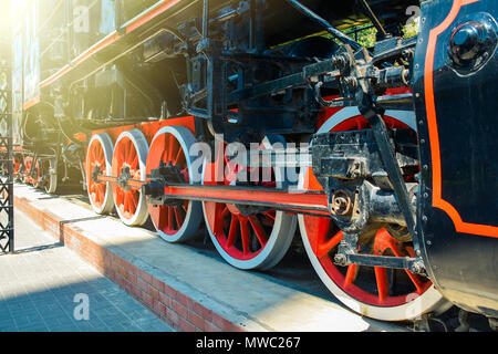 Old Soviet steam locomotive of the Second World War - Stock Photo