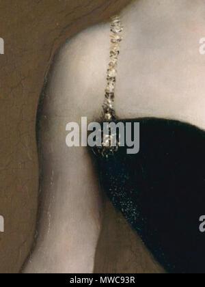 . English: Detail of Madame X (Madame Pierre Gautreau), John Singer Sargent, 1884, showing saponation in the black dress.   Detail of this painting  . 1884. John Singer Sargent (American, Florence 1856–1925 London) (1856 - 1925) 161 Detail of Madame X (Madame Pierre Gautreau), John Singer Sargent, 1884 - Stock Photo