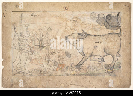 . English: After witnessing the destruction of his armies, the demon Mahisha in his buffalo form confronts Durga, crushing some of her troops under his hooves. The goddess is shown taking a drink of powerful nectar; the text tells us that she laughs with reddened eyes before entering into combat. While this drawing lacks the final application of colored pigments, it is significant that the preparatory image was brought to such a finished form; especially notable is the volumetric treatment of the buffalo . circa 1780. Unknown 173 Durga Confronts the Buffalo Demon Mahisha - Stock Photo