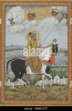 . English: Equestrian Portrait of the Emperor Shah Jahan from the Kevorkian Album early 19th century Shah Jahan (r. 1628–55) Opaque watercolor and gold on paper H: 26.8 W: 18.1 cm India Purchase F1939.46a Shah Jahan, the third son of Jahangir, was reputed to be the wealthiest of all Mughal emperors and surrounded himself with opulent and sumptuous buildings. He was also the most ambitious of Jahangir's sons; he deposed the rightful heir to the throne and revolted against his father, causing considerable internal turmoil. Shah Jahan himself faced the rivalry of his son, Awrangzib, who deposed i - Stock Photo