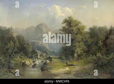 . Guido Hampe (1839–1902): Idyllische Gebirgslandschaft mit Wasserfall, 1876 . 1876  256 Guido Hampe Idyllische Gebirgslandschaft mit Wasserfall - Stock Photo