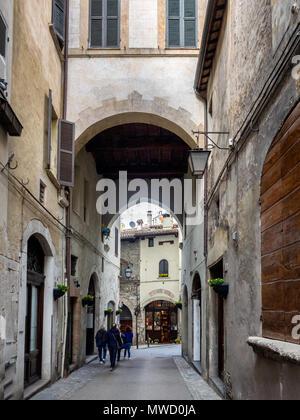 Spoleto small narrow streets, Umbria Italy - Stock Photo