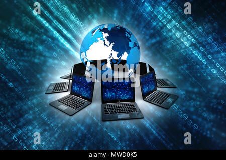 Computer Network, Global internet Communication Concept. 3d rendering - Stock Photo