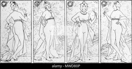 .  Français: Les quatre Dames . 1895. Fernand Le Quesne 206 Fernand Le Quesne - Les quatre Dames - Stock Photo
