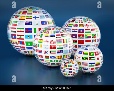 Country flags around the globes on blue background. 3D illustration. - Stock Photo