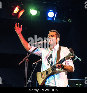 New York, USA, 31 May 2018.  Brazilian musician Jair Oliveira interacts with a cheering public during his concert in New York city.  Oliveira`s performance was part of  LatiNew Music, a brand new concerts and event series dedicated to bridging the gap between brazilian and Latin music.  Photo by Enrique Shore - Stock Photo