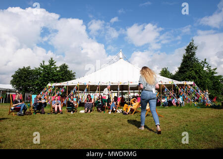 Hay Festival, Hay on Wye, UK - Friday 1st June 2018 -  The sun shines onto the Hay Festival lawns this morning on the first day of the meteorological summer - Photo Steven May / Alamy Live News - Stock Photo