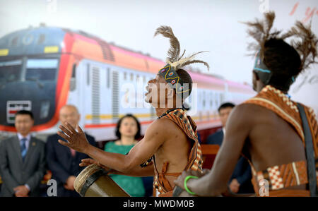 Beijing, Kenya. 31st May, 2018. Artists perform during a ceremony at the Nairobi terminus of the Mombasa-Nairobi Standard Gauge Railway (SGR), marking the first anniversary of the launch of the SGR passenger train service in Nairobi, capital of Kenya, May 31, 2018. Credit: Wang Teng/Xinhua/Alamy Live News - Stock Photo