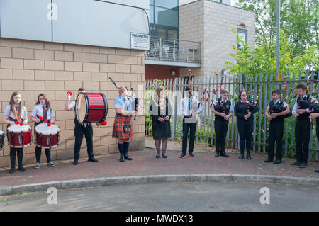 Glasgow , Scotland, UK. 1st June, 2018. The Lord Provost of Glasgow Eva Bolander attends the annual Govan Fair with  this year's event celebrating its 262nd anniversary. The fair starts with the crowning of the queen ceremony followed by a  procession through the streets of Govan. Credit: Skully/Alamy Live News - Stock Photo